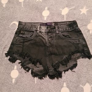 Factorie Size 8 Black Denim Low Rise Sexy Shorts